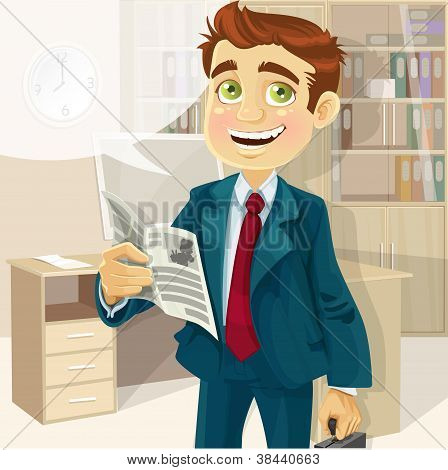 Business man in morning office read a summary of the news