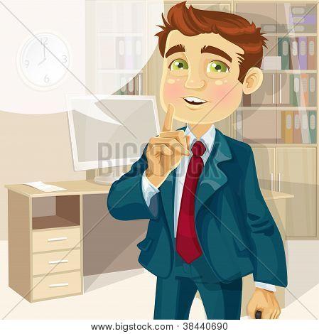 Hombre de negocios en la oficina pidió que se callara
