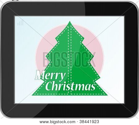 New Year And Christmas Tree On Tablet Pc
