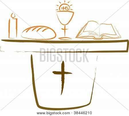 holy communion - altar and religious symbols