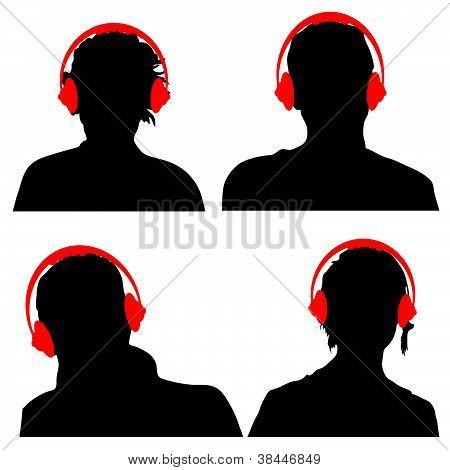 Pessoas com fones de ouvido preto silhueta