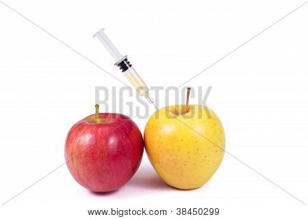 Apples And Syringe (dope), Isolated On White