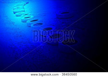 Magic Blue Light Over Abandoned Grunge Tyre Cover Heap, Science Details