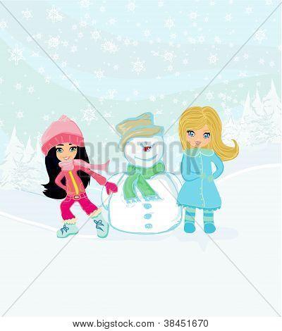 Little Girls And Snowman