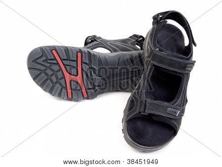 Pair Of Black Men's Leather Sandals