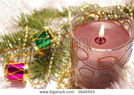 Candle And Decoration Isolated