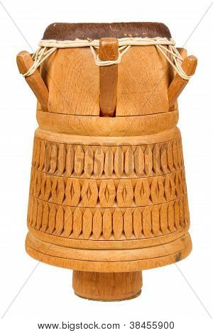Djembe, Surinam Percussion, Handmade Wooden Drum With Goat Skin, Ethnic Musical Instrument Of Carved