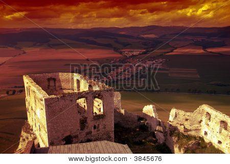 Spissky Castle At Sunset