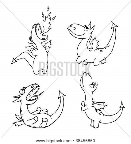 Four funny dragons