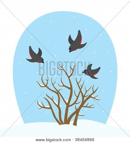 Winter landscape with birds