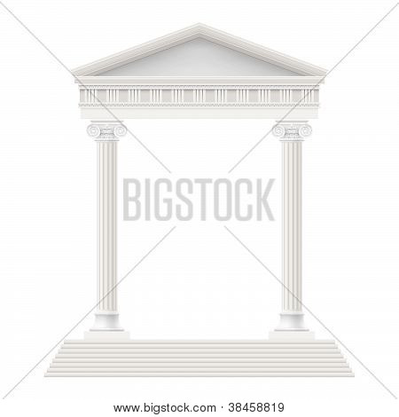 Portico an ancient temple. Illustration on white