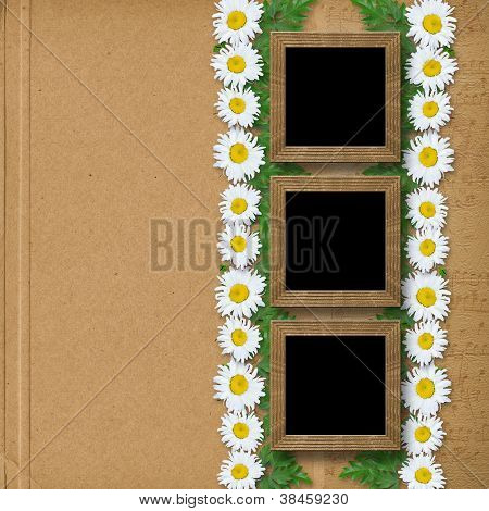 Abstract Paper  Background With Garland Of Snow-white Daisies And Frames
