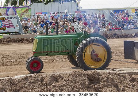 Green Oliver Tractor Pulling Side View