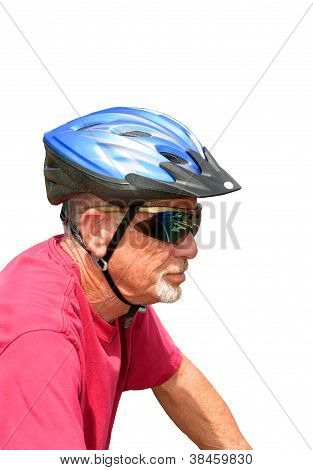 Senior bicyclist, isolated