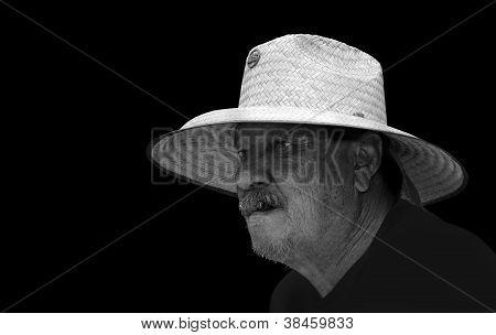 Senior man in hat, monochrome