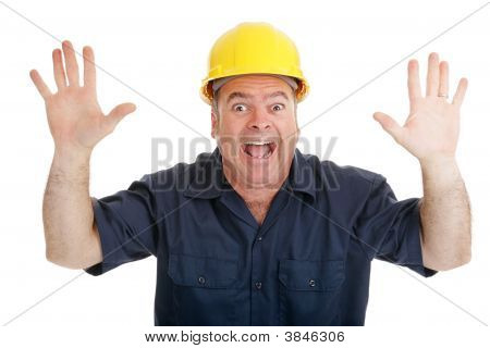 Construction Worker Terrified