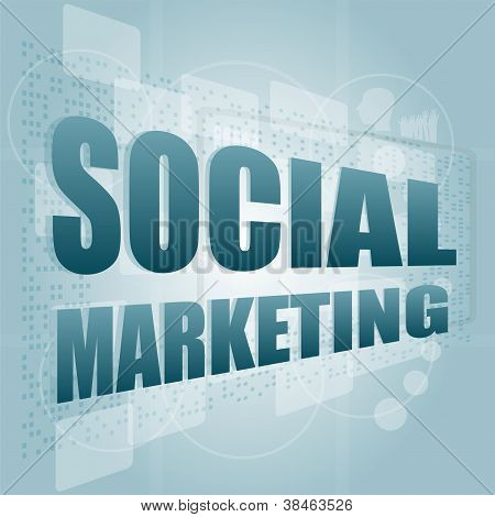 Words Social Marketing On Digital Screen, Marketing Concept