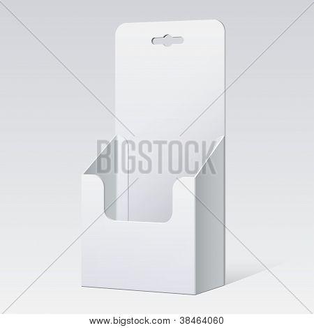 Soporte de cartón blanco para folletos y volantes.