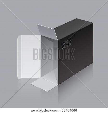 Negro paquete caja abre acostado a su lado