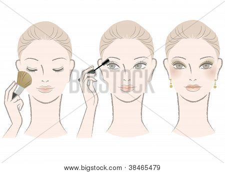 Beautiful Woman On Makeup Procedure. Mascara, Cheek.