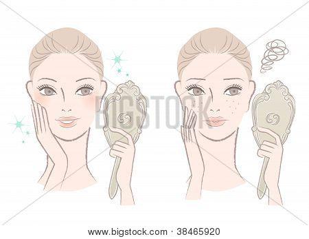 Beautiful Woman Looking Herself In The Mirror