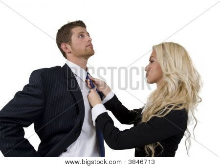 Lady Knotting Tie Of Man