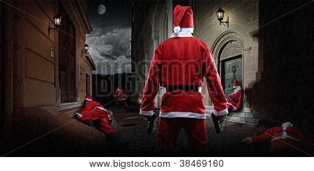 Santa with gun in the alley