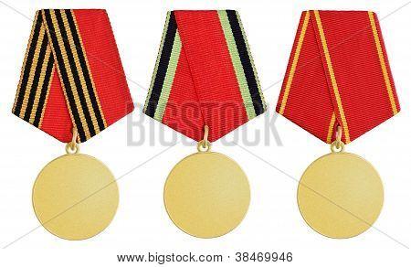 Set Of Medal On White