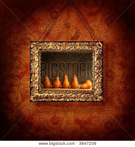 Gold Picture Frame On Antique Wallpaper