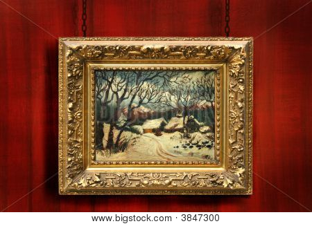 Red Wood Background With Antique Frame