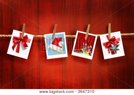 Photos Frames On Rustic Red Wood Background