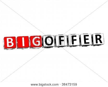 3D Big Offer Button Click Here Block Text