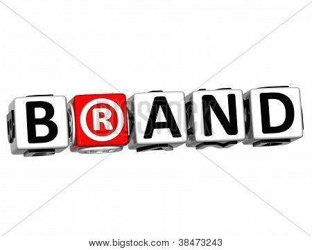 3D Brand Button Click Here Block Text