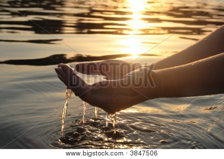 Woman Hands Giving Water
