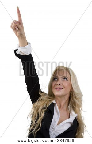 Woman Looking And Pointing Upward