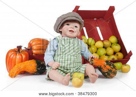 Baby Boy Doll With Pumpkin