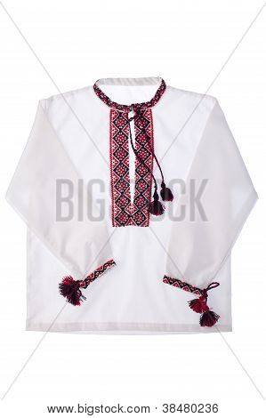 National Ukrainian Symbol Embroidered Handmade Cotton Shirt Vishyvanka Isolated