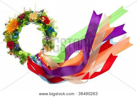 Wreath With Satin Ribbons, Symbol Of National Ukrainian Folk Costume Isolated