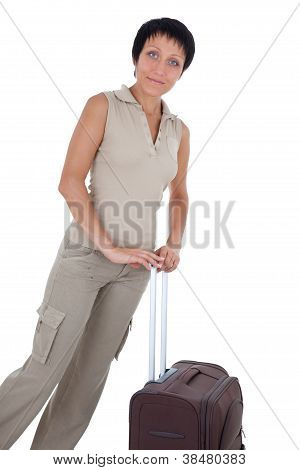 Young Tourist Woman Stands With Brown Traveling Suitcase Isolated