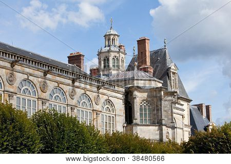 Medieval Royal Castle Fontainbleau Near Paris In France And Garden