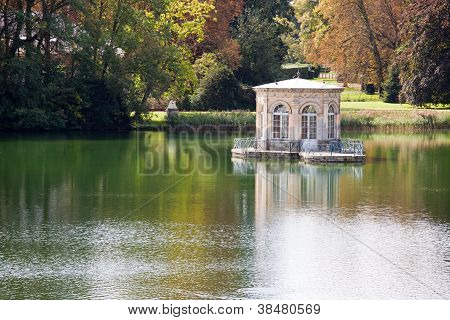 Wonderful Renascence Style Summerhouse On Tranquil Lake In Autumn Park