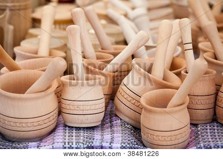 Handmade Wooden Pounder, Pestle At Street Handicraft Market