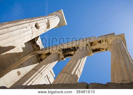 Columns Of Propylaea In Acropolis Athens Greece On Blue Sky Background