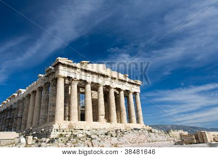 Ancient Parthenon In Acropolis Athens Greece On Blue Sky Background