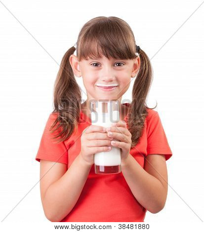 Little Girl With A Glass Of Buttermilk