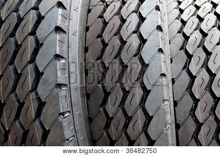 Close Up New Truck Black Tire
