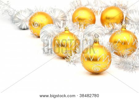 Set Of White And Yellow Christmas Ball On White