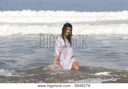 Woman Enjoying In The Seaside