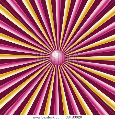 Sunburst Rays Gold And Pink, Burgundy Background