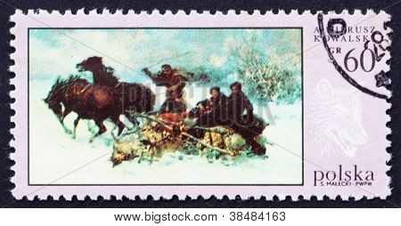 Postage stamp Poland 1968 Wolves' Raid, Painting